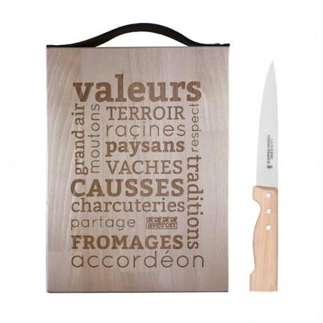 la planche texte et son couteau
